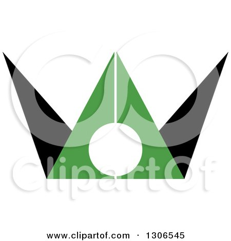 Clipart of a Black and Green Abstract Man - Royalty Free Vector Illustration by Lal Perera