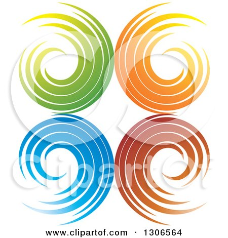 Clipart of a Colorful Abstract Design of Spirals - Royalty Free Vector Illustration by Lal Perera