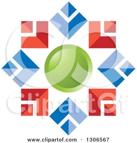 Clipart of a Red Blue and Green Abstract Snowflake or Flower - Royalty Free Vector Illustration by Lal Perera