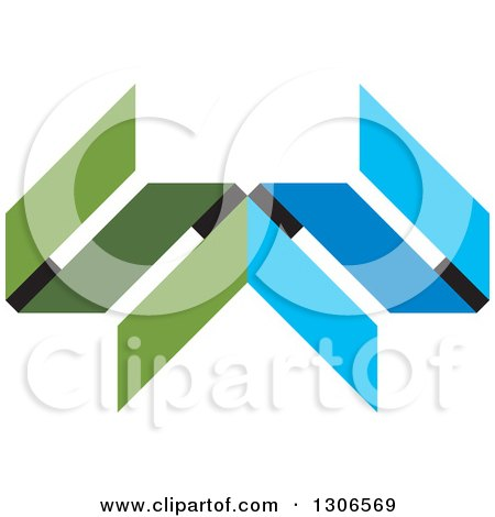 Clipart of a Blue and Green Abstract Design 2 - Royalty Free Vector Illustration by Lal Perera
