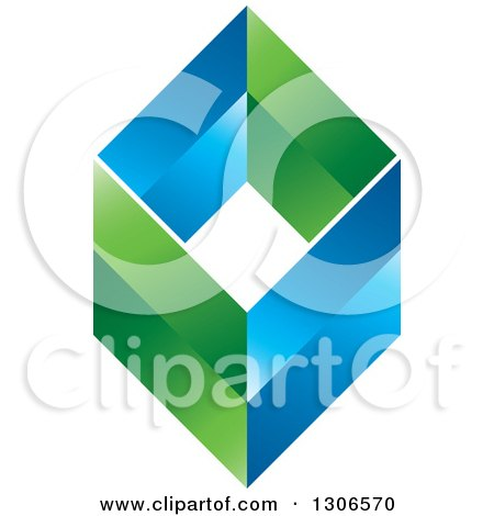 Clipart of a Blue and Green Diamond 2 - Royalty Free Vector Illustration by Lal Perera