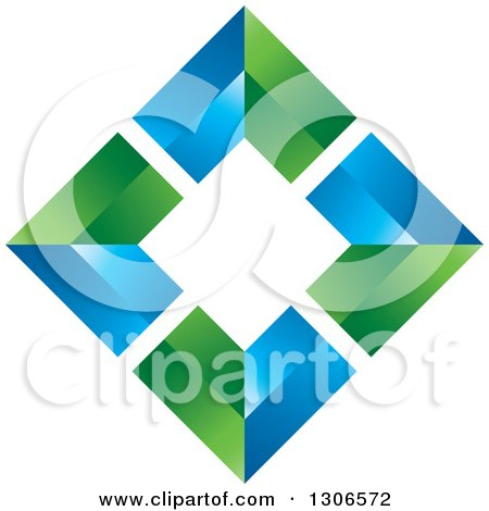 Clipart of a Blue and Green Diamond - Royalty Free Vector Illustration by Lal Perera