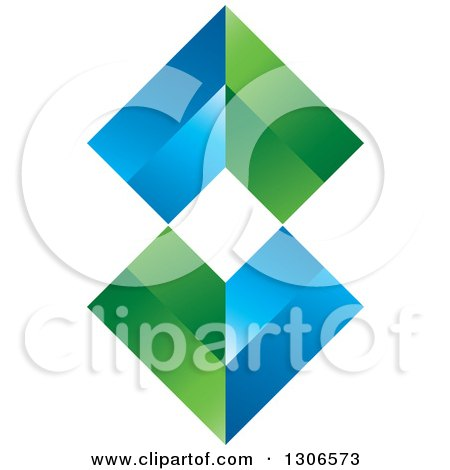 Clipart of a Blue and Green Abstract Design - Royalty Free Vector Illustration by Lal Perera