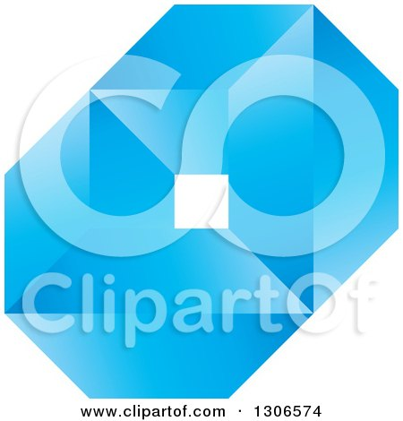Clipart of a Blue Abstract Diamond and Geometric Design - Royalty Free Vector Illustration by Lal Perera