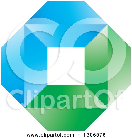 Clipart of a Blue and Green Abstract Diamond and Square Geometric Design - Royalty Free Vector Illustration by Lal Perera