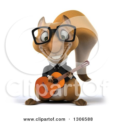 Clipart of a 3d Bespectacled Business Squirrel Playing a Guitar - Royalty Free Illustration by Julos