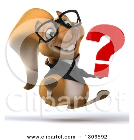 Clipart of a 3d Bespectacled Business Squirrel Jumping, Giving a Thumb up and Holding a Question Mark - Royalty Free Illustration by Julos