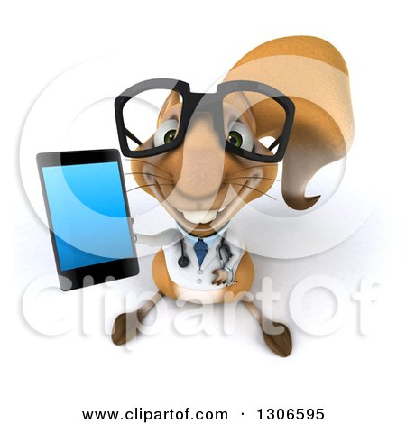 Clipart of a 3d Bespectacled Doctor or Veterinarian Squirrel Holding up a Smart Cell Phone - Royalty Free Illustration by Julos