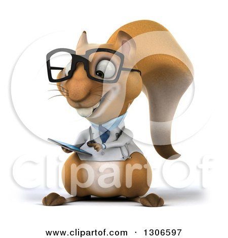 Clipart of a 3d Bespectacled Doctor or Veterinarian Squirrel Using a Smart Cell Phone - Royalty Free Illustration by Julos