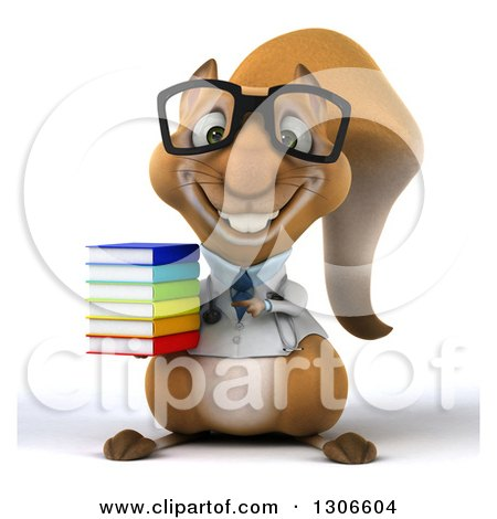 Clipart of a 3d Bespectacled Doctor or Veterinarian Squirrel Holding and Pointing to a Stack of Books - Royalty Free Illustration by Julos
