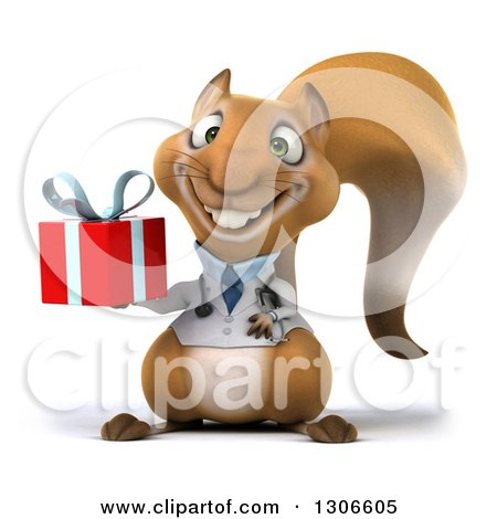 Clipart of a 3d Doctor or Veterinarian Squirrel Holding a Gift - Royalty Free Illustration by Julos