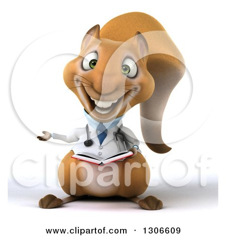 Clipart of a 3d Doctor or Veterinarian Squirrel Presenting and Reading a Book - Royalty Free Illustration by Julos