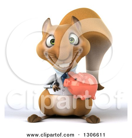 Clipart of a 3d Doctor or Veterinarian Squirrel Holding a Piggy Bank - Royalty Free Illustration by Julos
