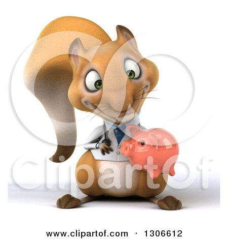 Clipart of a 3d Doctor or Veterinarian Squirrel Holding and Looking down at a Piggy Bank - Royalty Free Illustration by Julos