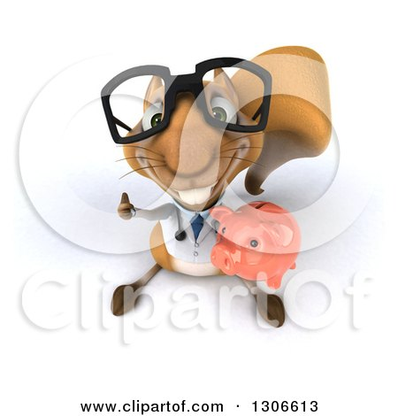 Clipart of a 3d Bespectacled Doctor or Veterinarian Squirrel Looking Upwards, Holding a Piggy Bank and Thumb up - Royalty Free Illustration by Julos
