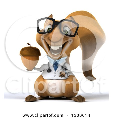 Clipart of a 3d Bespectacled Doctor or Veterinarian Squirrel Holding an Acorn - Royalty Free Illustration by Julos