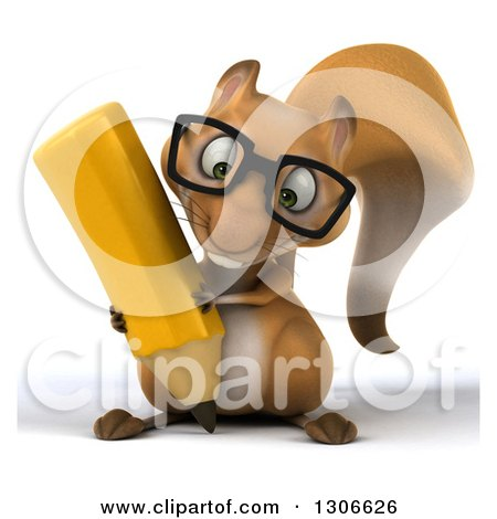Clipart of a 3d Bespectacled Squirrel Holding a Euro Currency Symbol - Royalty Free Illustration by Julos
