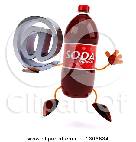 Clipart of a 3d Soda Bottle Character Jumping and Holding an Email Arobase at Symbol - Royalty Free Illustration by Julos