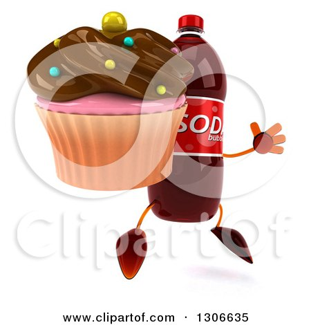 Clipart of a 3d Soda Bottle Character Facing Slightly Right, Jumping and Holding a Chocolate Frosted Cupcake - Royalty Free Illustration by Julos