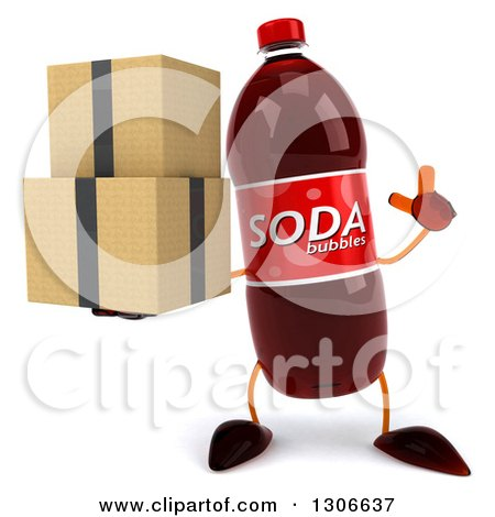 Clipart of a 3d Soda Bottle Character Holding up a Finger and Boxes - Royalty Free Illustration by Julos