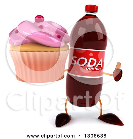 Clipart of a 3d Soda Bottle Character Giving a Thumb up and Holding a Pink Frosted Cupcake - Royalty Free Illustration by Julos