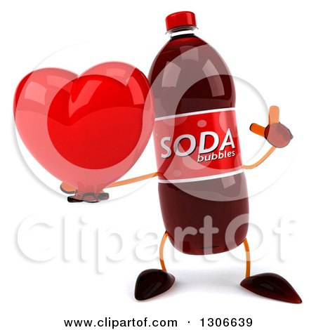 Clipart of a 3d Soda Bottle Character Holding up a Finger and a Heart - Royalty Free Illustration by Julos