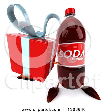 Clipart of a 3d Soda Bottle Character Holding up a Gift - Royalty Free Illustration by Julos
