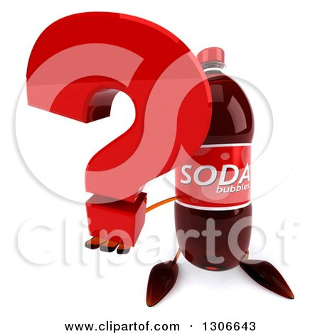 Clipart of a 3d Soda Bottle Character Holding up a Question Mark - Royalty Free Illustration by Julos