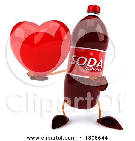 Clipart of a 3d Soda Bottle Character Holding and Pointing to a Heart - Royalty Free Illustration by Julos