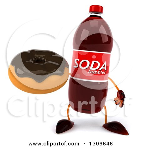 Clipart of a 3d Soda Bottle Character Holding a Chocolate Frosted Donut - Royalty Free Illustration by Julos