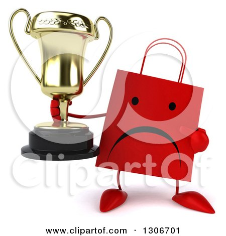 Clipart of a 3d Unhappy Red Shopping or Gift Bag Character Holding and Pointing to a Trophy - Royalty Free Illustration by Julos