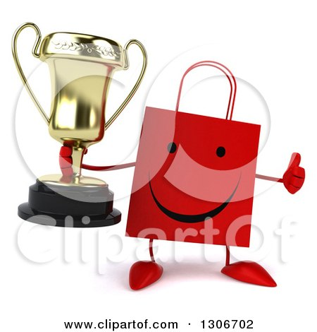 Clipart of a 3d Happy Red Shopping or Gift Bag Character Holding a Thumb up and a Trophy - Royalty Free Illustration by Julos