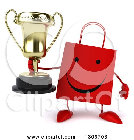 Clipart of a 3d Happy Red Shopping or Gift Bag Character Holding a Trophy - Royalty Free Illustration by Julos