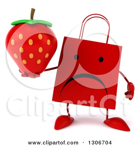 Clipart of a 3d Unhappy Red Shopping or Gift Bag Character Holding a Strawberry - Royalty Free Illustration by Julos