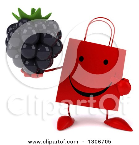 Clipart of a 3d Happy Red Shopping or Gift Bag Character Holding and Pointing to a Blackberry - Royalty Free Illustration by Julos