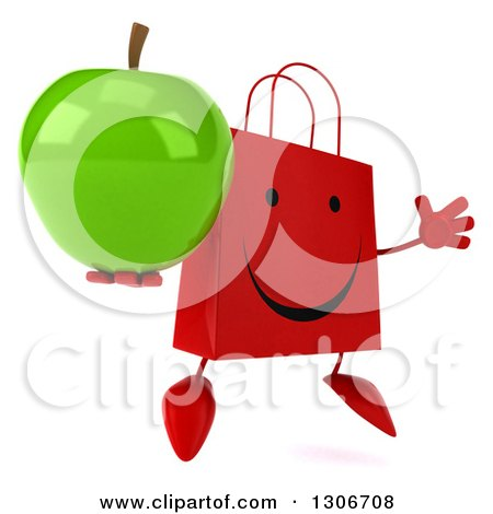 Clipart of a 3d Happy Red Shopping or Gift Bag Character Facing Slightly Right, Jumping and a Green Apple - Royalty Free Illustration by Julos