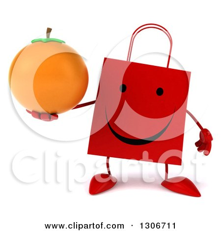 Clipart of a 3d Happy Red Shopping or Gift Bag Character Holding an Orange - Royalty Free Illustration by Julos