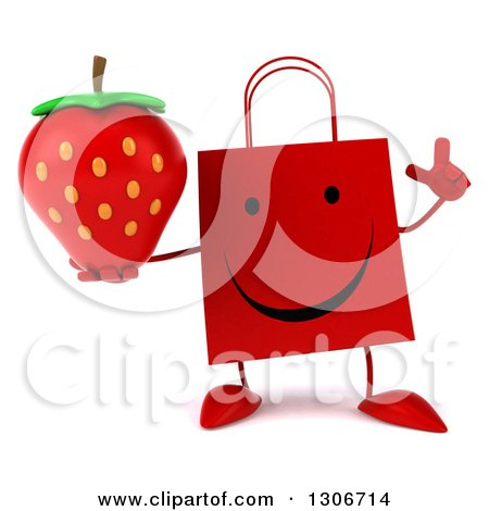 Clipart of a 3d Happy Red Shopping or Gift Bag Character Holding up a Finger and Strawberry - Royalty Free Illustration by Julos