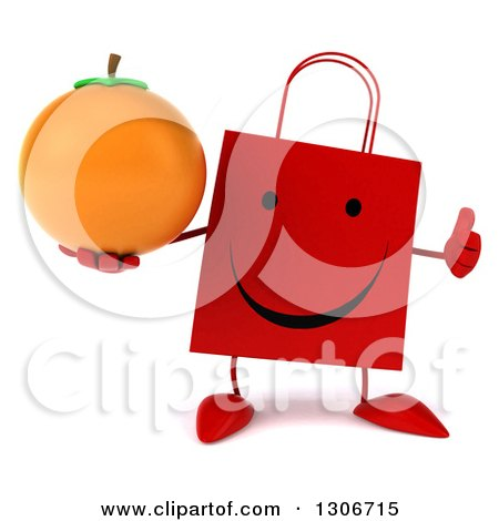 Clipart of a 3d Happy Red Shopping or Gift Bag Character Giving a Thumb up and Holding an Orange - Royalty Free Illustration by Julos