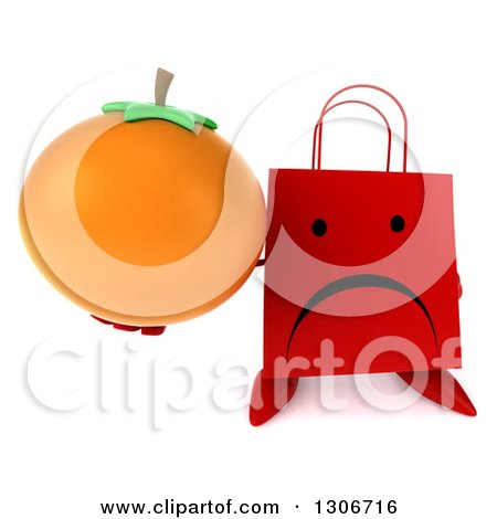 Clipart of a 3d Unhappy Red Shopping or Gift Bag Character Holding up an Orange - Royalty Free Illustration by Julos