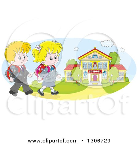 Clipart of Cartoon Happy White School Children Walking to a Building - Royalty Free Vector Illustration by Alex Bannykh