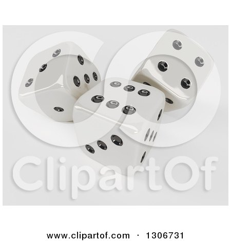 Clipart of 3d Shiny Dice, on Shaded White - Royalty Free Illustration by KJ Pargeter