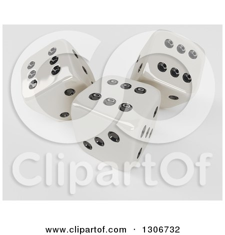 Clipart of 3d Shiny Dice, on Shaded White 2 - Royalty Free Illustration by KJ Pargeter