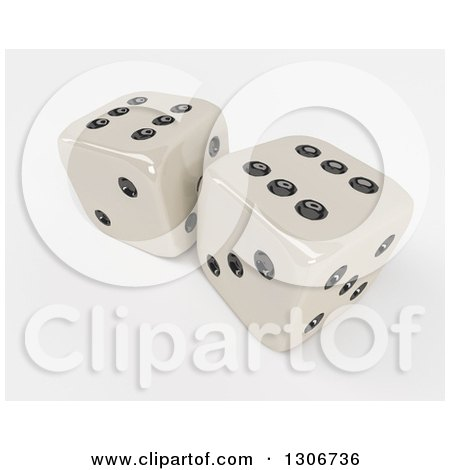 Clipart of 3d Shiny Dice, on Shaded White 3 - Royalty Free Illustration by KJ Pargeter