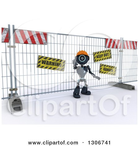 Clipart of a 3d Blue Android Robot Construction Worker Gesturing to Stop in Front of a Barrier - Royalty Free Illustration by KJ Pargeter