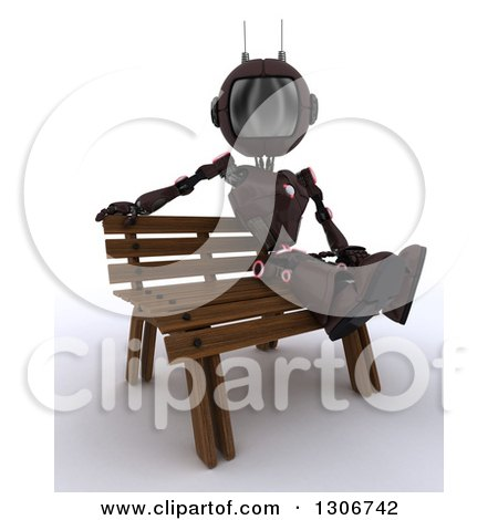 Clipart of a 3d Red Android Robot Sitting on a Park Bench - Royalty Free Illustration by KJ Pargeter