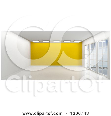 Clipart of a 3d Empty Room Interior with Floor to Ceiling Windows, Ceiling Lights and a Yellow Feature Wall - Royalty Free Illustration by KJ Pargeter