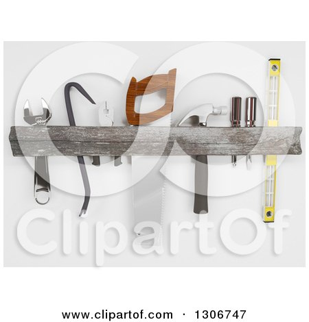Clipart of a 3d Rustic Wood Tool Rack, on Shaded White - Royalty Free Illustration by KJ Pargeter