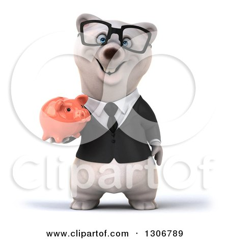 Clipart of a 3d Bespectacled Happy Business Polar Bear Holding a Piggy Bank - Royalty Free Illustration by Julos