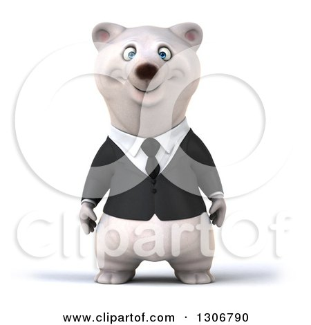 Clipart of a 3d Happy Business Polar Bear - Royalty Free Illustration by Julos